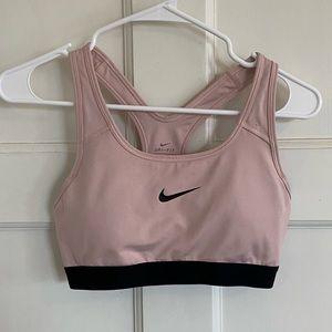 Nike pale pink & black sports bra M